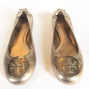 Tory Burch Metallic Crackled Leather Ballet Flats